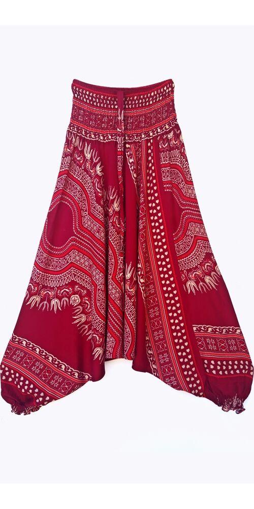 aladdin, nadrág, bordó, piros, bézs, mandala, mintás, kényelmes, bő, szellős, viszkóz, bohém, extravagáns, különleges, Thaiföld, női, divat, trend