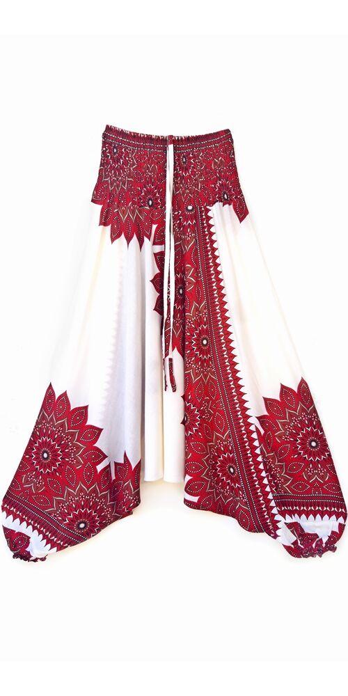 aladdin, nadrág, piros, fehér, barna, virág, mandala, mintás, kényelmes, bő, szellős, viszkóz, bohém, extravagáns, különleges, Thaiföld, női, divat, trend