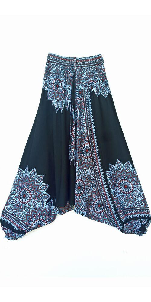 aladdin, nadrág, fekete, szürke, piros, virág, mandala, mintás, kényelmes, bő, szellős, viszkóz, bohém, extravagáns, különleges, Thaiföld, női, divat, trend