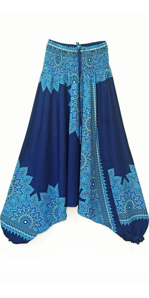 aladdin, nadrág, kék, sötétkék, égkék, virág, mandala, mintás, kényelmes, bő, szellős, viszkóz, bohém, extravagáns, különleges, Thaiföld, női, divat, trend