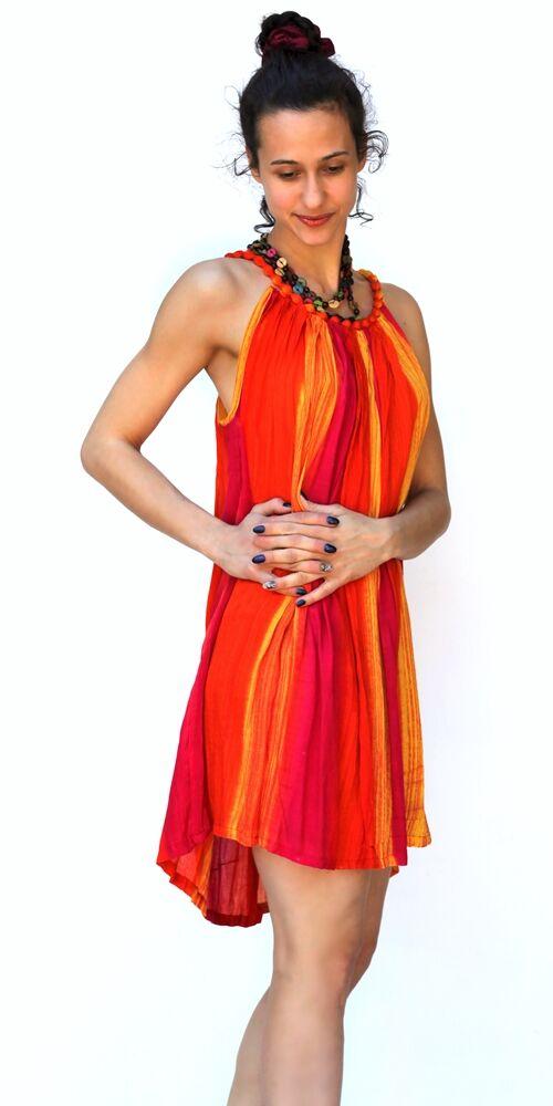 felső, mini, viszkóz, ruha, színes, szivárvány, narancs, sárga, kék, zöld, pink, fekete, fehér, batikolt, spagettipántos, vidám, bohém, hippi, laza, női, divat, trend