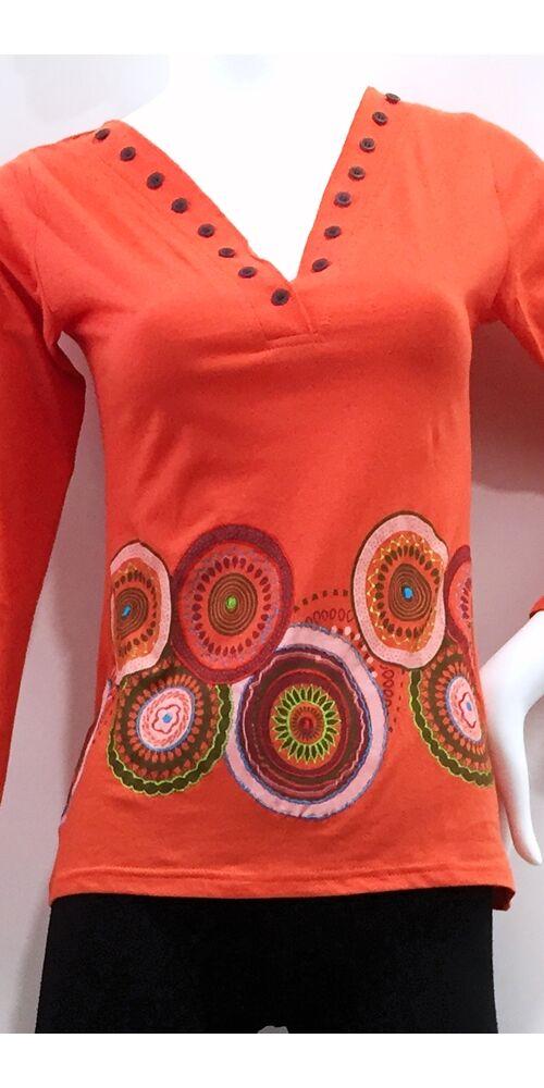 hosszú ujjú, pamut, felső, póló, színes, kék, lazac, narancs, piros, türkiz, mustár, sárga, pink, mandala, kör, mintás, gombos, bohém, hippi, laza, női, divat, trend