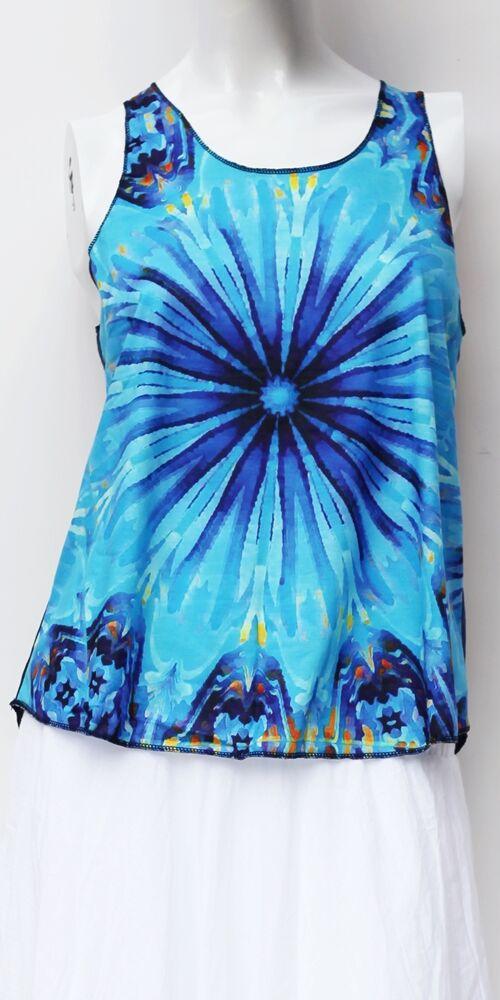 kék, világos, színes, virág, sugár, mintás, ujjatlan, pamut, felső, női, divat, trend, nyári, sportos, elegáns, bohém, extravagáns