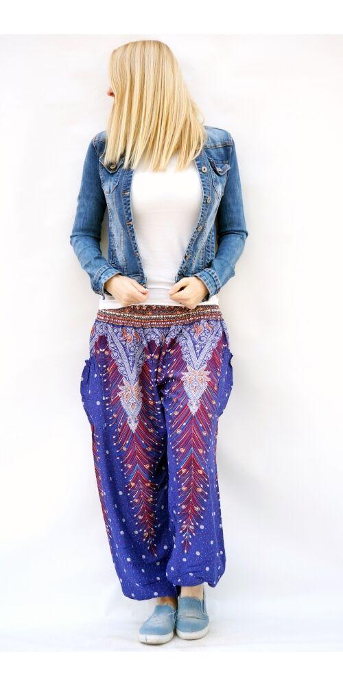 női, divat, azúr, kék, bő, viszkóz, nadrág, levél, pávatoll, élénk, színes, trend, kényelmes, szellős, egyedi, extravagáns, különleges, bohém, jázmin, Thaiföld