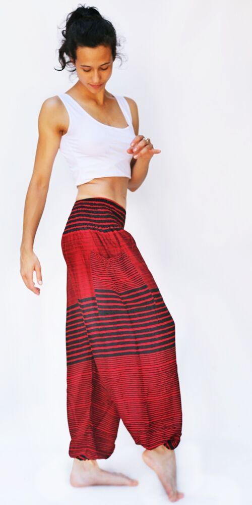 női, divat, narancs, fekete, csíkos, bő, viszkóz, nadrág, színes, trend, kényelmes, szellős, egyedi, bohém, jázmin, Thaiföld, nagy méret, extra méretezés, plus size