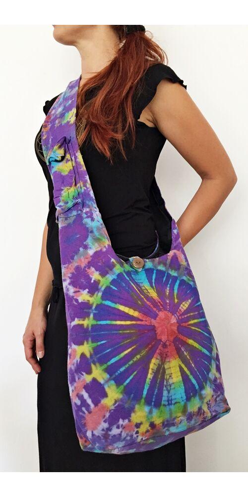 pamut, batikolt, lila, sárga, piros, kék, színes, textil, válltáska, egyedi, női, kiegészítő, divat, trend