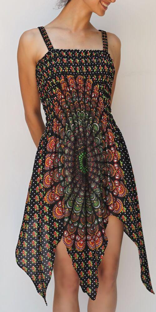 cikk-cakk, midi, ruha, zöld, narancs, fekete, színes, mandala mintás, ujjatlan, vidám, bohém, hippi, laza, női, divat, trend