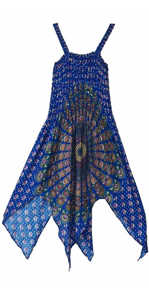 cikk-cakk, midi, ruha, kék, színes, mandala mintás, ujjatlan, vidám, bohém, hippi, laza, női, divat, trend