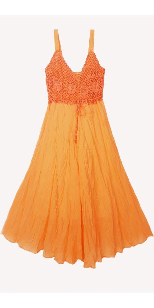 midi, ruha, pamut, ujjatlan, pántos, narancs, sárga, Thaiföld, bő, színes, szellős, könnyű, különleges, női, divat, nyári, trend, webshop