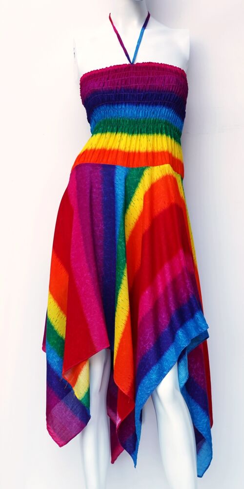 cikk-cakk, midi, ruha, színes, csíkos, szivárvány, ujjatlan, vidám, bohém, hippi, laza, női, divat, trend