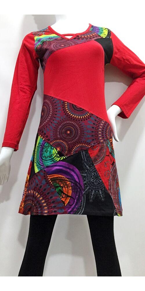 ruha, tunika, fekete, piros, bordó, zöld, kiwi, fekete, patchwork, mandala, kör, absztrakt, mintás, hosszú ujjú, rövid, ruha, Nepál, egyedi, vidám, elegáns, különleges, női, divat, bohém, trend
