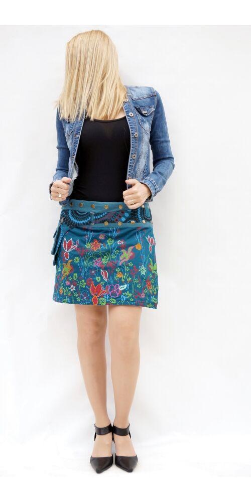 pamut, kék, pillangó, mintás, színes, mini, szoknya, hímzett, oldalzsebes, bohém, egyedi, extravagáns, női, divat, trend
