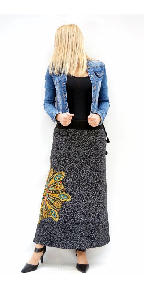 fekete, sárga, zöld, színes, mandalás, hosszú, A-vonalú, pamut, szoknya, női, divat, trend, extravagáns, hippi, bohém