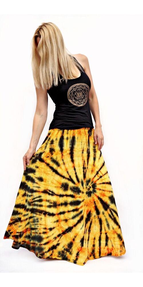 batikolt, hosszú, pamut, szoknya, zsebes, narancssárga, fekete, bohém, női, divat, nyári, trend, Nepál