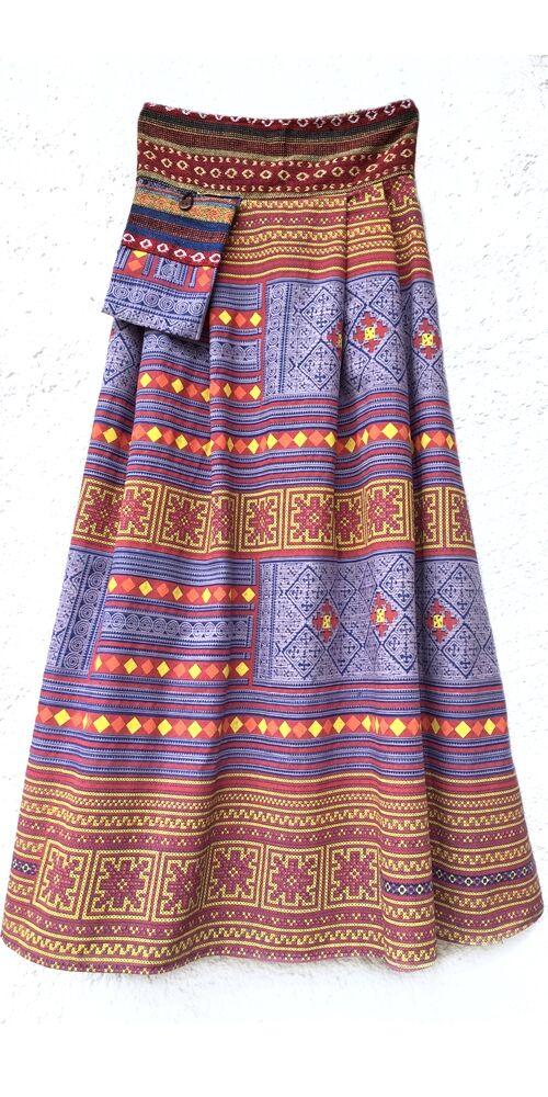 színes, etno, mintás, hosszú, A-vonalú, pamut, szoknya, zsebes, női, divat, trend, extravagáns, egyedi, bohém, fekete, türkiz, kék, zöld, bézs, , bordó, narancs, sárga, lila