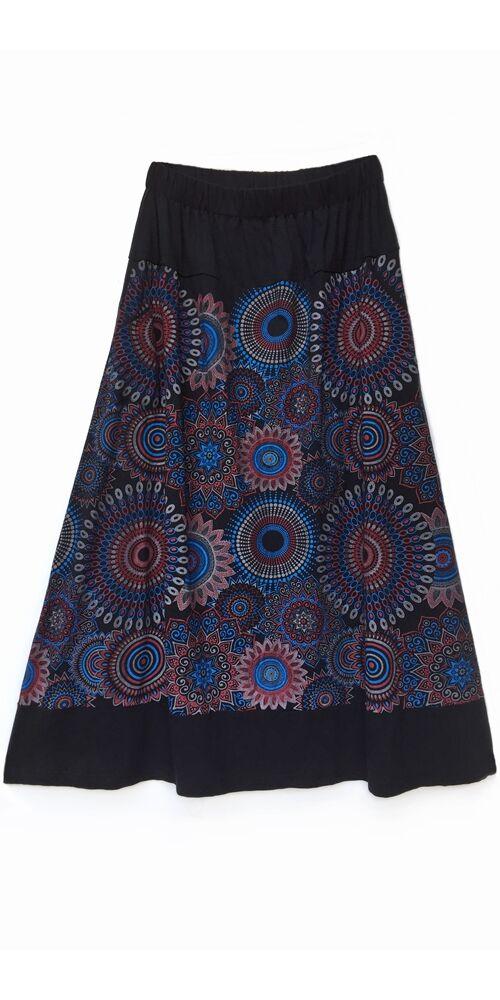 A-vonalú, pamut, hosszú, szoknya, zsebes, mandala, mintás, női, divat, extravagáns, egyedi, bohém, fekete, mályva, kék