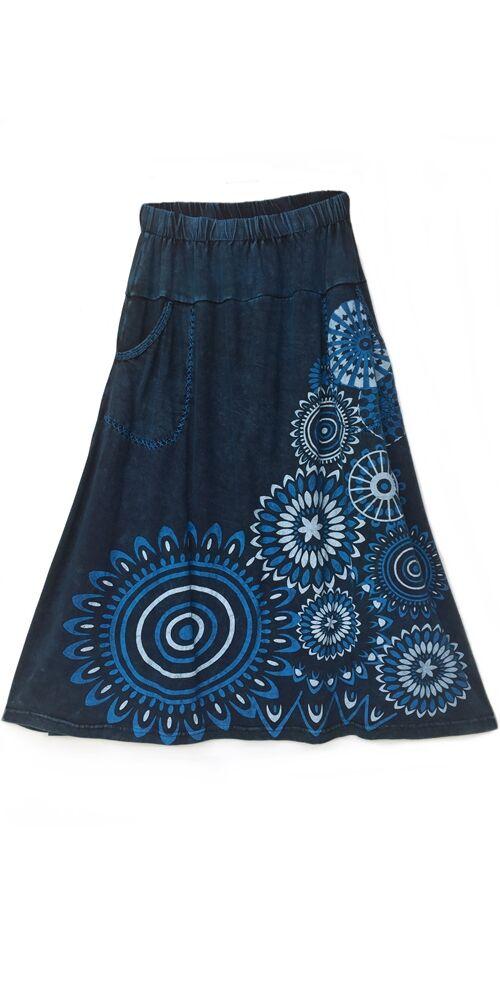 A-vonalú, pamut, hosszú, szoknya, zsebes, mandala, mintás, női, divat, extravagáns, egyedi, bohém, szürke, kék, fehér