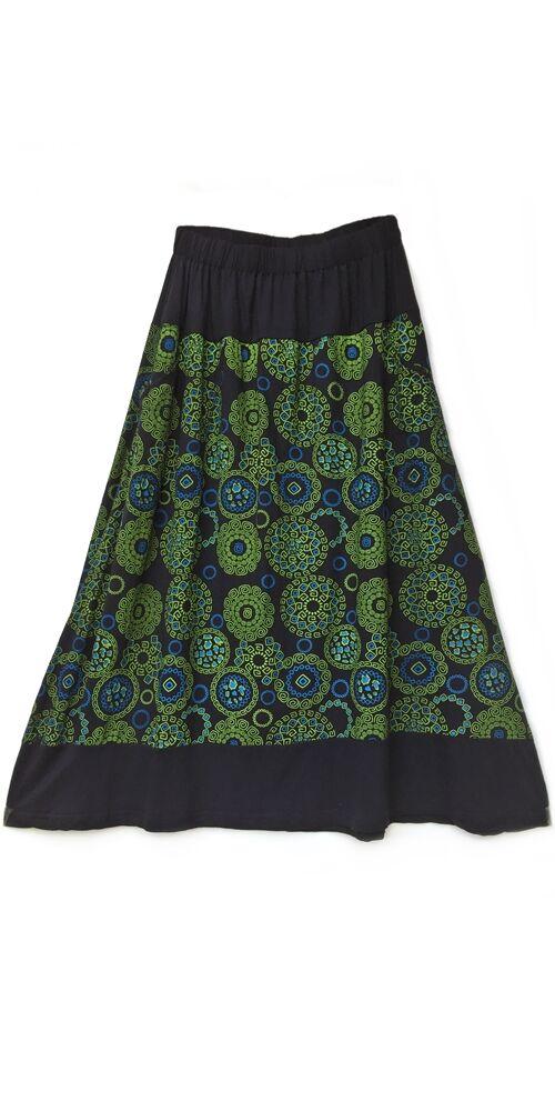 A-vonalú, pamut, hosszú, szoknya, zsebes, mandala, mintás, női, divat, extravagáns, egyedi, bohém, fekete, kiwi, zöld, kék
