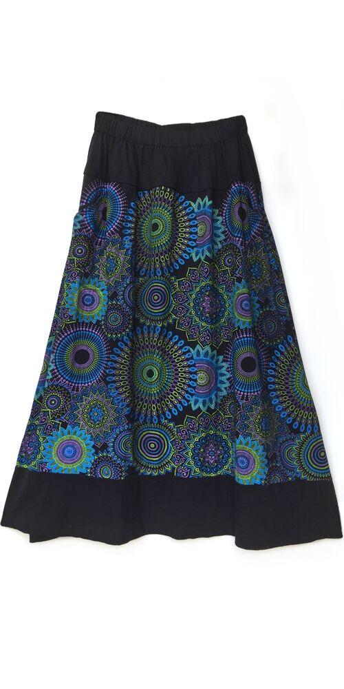 A-vonalú, pamut, hosszú, szoknya, zsebes, mandala, mintás, női, divat, extravagáns, egyedi, bohém, fekete, kiwi, lila, kék
