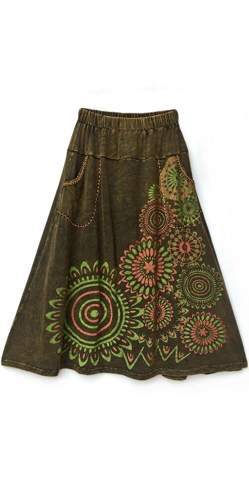 A-vonalú, pamut, hosszú, szoknya, zsebes, mandala, mintás, női, divat, extravagáns, egyedi, bohém, keki, zöld, narancs
