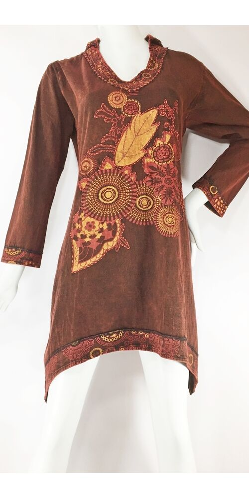 aszimmetrikus aljú, manó kapucnis, hosszú ujjú, tunika, felső, pamut, Nepál, ruha, nepáli, színes, virágos, bordó, kék, zöld, barna, keki, narancs, egzotikus, egyedi, vidám, élénk, elegáns, bohém, különleges