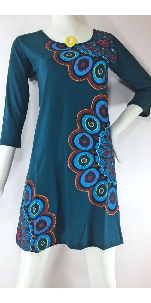 fekete, türkiz, kék, zöld, virág, mandala, mintás, háromnegyedes, ujjú, pamut, tunika, ruha, felső, Nepál, egzotikus, egyedi, különleges, női, divat, bohém, trend