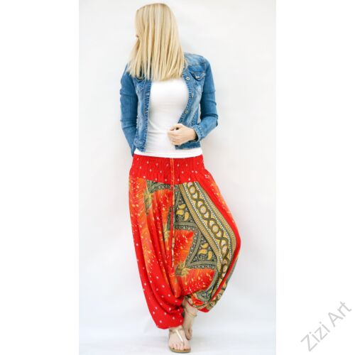 női, divat, nadrág, pávatoll, bordűr mintás, élénk, narancs, sárga, trend, kényelmes, bő, szellős, viszkóz, egyedi, extravagáns, különleges, bohém, Thaiföld
