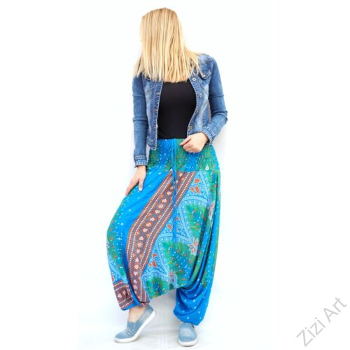 női, divat, nadrág, pávatollas, zöld. kék, narancs, trend, kényelmes, bő, szellős, viszkóz, egyedi, extravagáns, különleges, bohém, Thaiföld