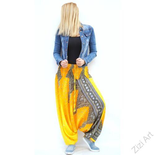 női, divat, nadrág, cikkcakk, citrom, sárga, fekete, trend, kényelmes, bő, szellős, viszkóz, egyedi, extravagáns, különleges, bohém, Thaiföld