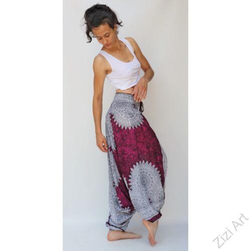 aladdin, nadrág, fehér, lila, mandala, mintás, kényelmes, bő, szellős, viszkóz, egyedi, extravagáns, különleges, bohém, Thaiföld, női, divat, trend
