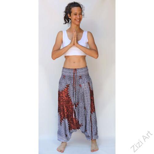 aladdin, nadrág, fehér, barna, mandala, mintás, kényelmes, bő, szellős, viszkóz, egyedi, extravagáns, különleges, bohém, Thaiföld, női, divat, trend