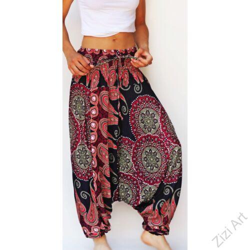aladdin, nadrág, fekete, piros, mandala, levél, mintás, kényelmes, bő, szellős, viszkóz, egyedi, extravagáns, különleges, bohém, Thaiföld, női, divat, trend