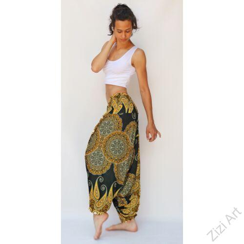 aladdin, nadrág, zöld, sárga, mandala, levél, mintás, kényelmes, bő, szellős, viszkóz, egyedi, extravagáns, különleges, bohém, Thaiföld, női, divat, trend