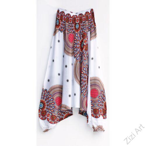 aladdin, nadrág, fehér, narancs, kék, piros, mandala, mintás, kényelmes, bő, szellős, viszkóz, egyedi, extravagáns, különleges, bohém, Thaiföld, női, divat, trend