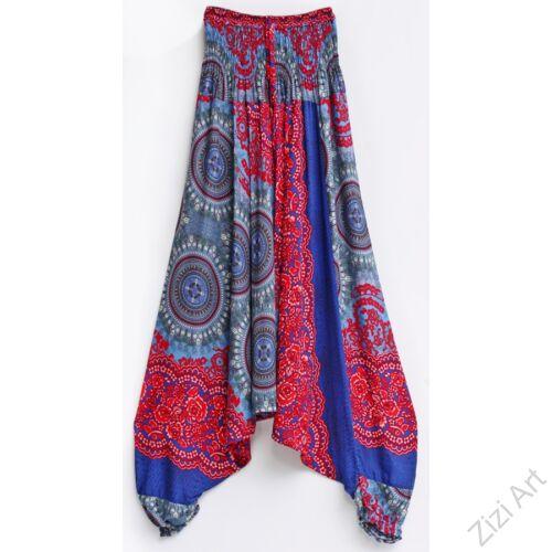női, divat, nadrág, narancs, kék, szürke, mandala, virág, mintás, kényelmes, bő, szellős, viszkóz, egyedi, extravagáns, különleges, bohém, trend, Thaiföld