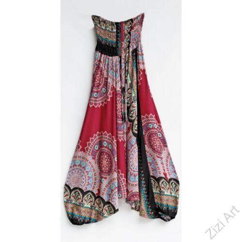 aladdin. nadrág, bordó, kék, fekete, mandala, virág, mintás, kényelmes, bő, szellős, viszkóz, egyedi, extravagáns, különleges, bohém, trend, Thaiföld, női, divat