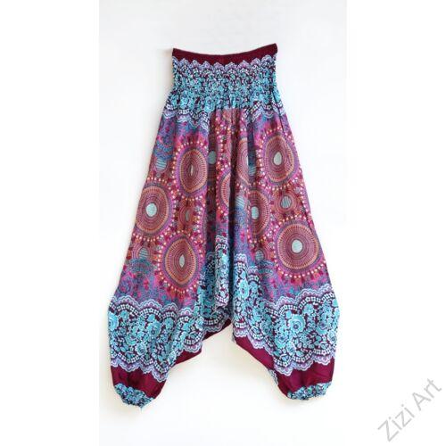 női, divat, nadrág, fekete, fehér, kék, pink, rózsaszín, lila, mandala, mintás, bordűr, trend, kényelmes, bő, szellős, viszkóz, egyedi, extravagáns, különleges, bohém, Thaiföld