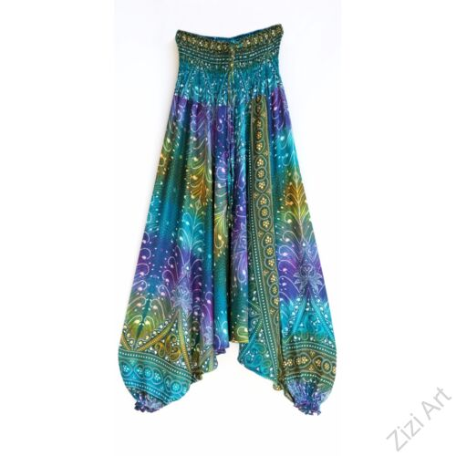 aladdin, nadrág, azúr, kék, lila, zöld, virág, toll, mintás, kényelmes, bő, szellős, viszkóz, egyedi, extravagáns, különleges, bohém, Thaiföld, női, divat, trend