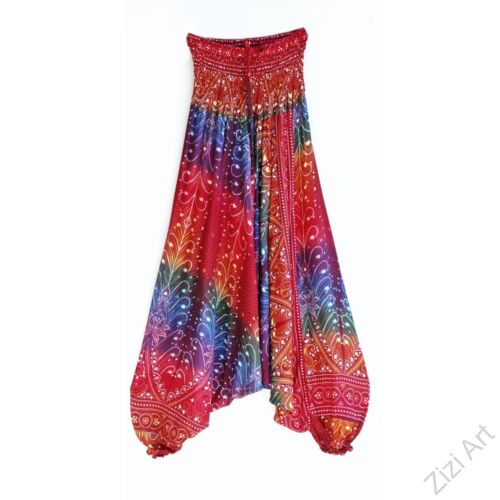 aladdin, nadrág, bordó, kék, lila, virág, toll, mintás, kényelmes, bő, szellős, viszkóz, egyedi, extravagáns, különleges, bohém, Thaiföld, női, divat, trend