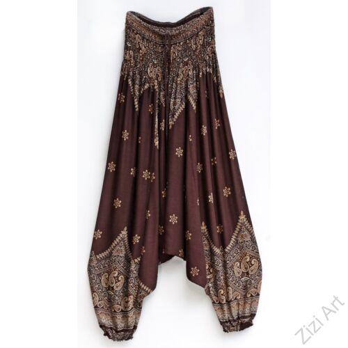 női, divat, nadrág, barna, narancs, bézs, krém, mintás, bordűr, trend, kényelmes, bő, szellős, viszkóz, egyedi, extravagáns, egzotikus, bohém, Thaiföld