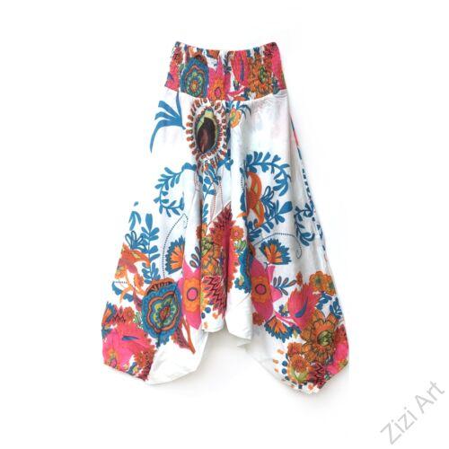 pamut, aladdin, nadrág, fehér, színes, virágos, divat, trend, bő, szárú, kényelmes, egyedi, extravagáns, Nepál