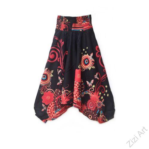 pamut, aladdin, nadrág, fekete, mályva, színes, virágos, divat, trend, bő, szárú, kényelmes, egyedi, extravagáns, Nepál