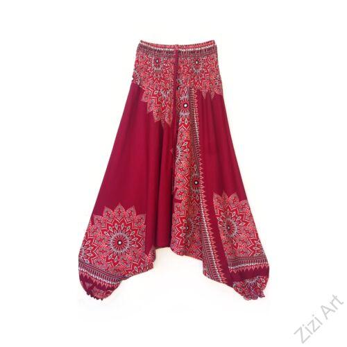 aladdin, nadrág, bordó, lazac, bézs, mandala, mintás, kényelmes, bő, szellős, viszkóz, bohém, extravagáns, különleges, Thaiföld, női, divat, trend