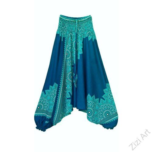 aladdin, nadrág, türkiz, kék, zöld, azúr, virág, mandala, mintás, kényelmes, bő, szellős, viszkóz, bohém, extravagáns, különleges, Thaiföld, női, divat, trend