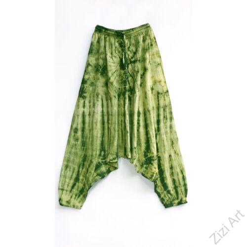 aladdin, nadrág, női, bő szárú, batikolt, mintás, kényelmes, kiwi, zöld, pamut, bohém, extravagáns, egyedi, női, divat, trend, Nepál