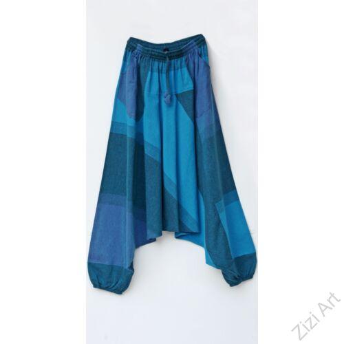 pamut, zsebes, kék, szürke, lezser, bő, aladdin, nadrág, nő, divat, trend, bohém, egyedi