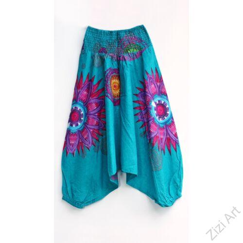 türkiz, virágos, pamut, aladdin, nadrág, bő, lezser, női, divat