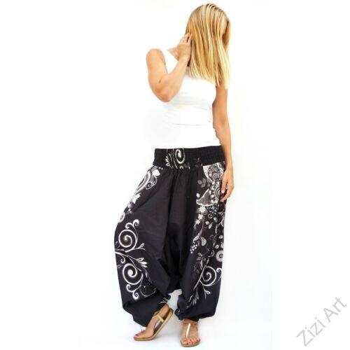 pamut, aladdin, nadrág, fekete, fehér, virágos, divat, trend, bő, szárú, kényelmes, egyedi, extravagáns, Nepál