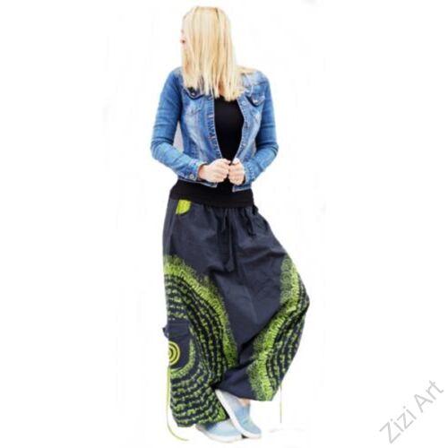 pamut, aladdin, nadrág, fekete, kiwi, zöld, kör, mandala, szanszkrit, szöveg, írás, divat, trend, bő, szárú, kényelmes, egyedi, extravagáns, Nepál