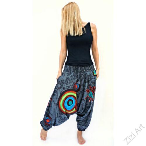 szürke, piros, színes, élénk, kör, mandala, bő, pamut, aladdin, női, nadrág, Nepál, kényelmes, szellős, bohém, egyedi, extravagáns, tavasz, nyár, divat, trend